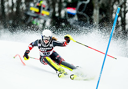 """Ida Stimac (CRO) competes during 1st Run of FIS Alpine Ski World Cup 2017/18 Ladies' Slalom race named """"Snow Queen Trophy 2018"""", on January 3, 2018 in Course Crveni Spust at Sljeme hill, Zagreb, Croatia. Photo by Vid Ponikvar / Sportida"""