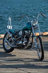 Dice Magazine's Matt Davis' 1968 custom Shovelhead at the docks where it was picked up with all of the invited builder's bikes for the Mooneyes show. Yokohama, Japan. Saturday December 2, 2017. Photography ©2017 Michael Lichter.