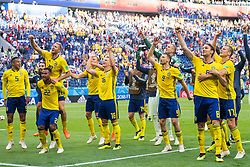 July 3, 2018 - St Petersburg, RUSSIA - 180703 The players of Sweden celebrate after winning the FIFA World Cup round of 16 match between Sweden and Switzerland on July 3, 2018 in St Petersburg..Photo: Joel Marklund / BILDBYRÃ…N / kod JM / 87748 (Credit Image: © Joel Marklund/Bildbyran via ZUMA Press)