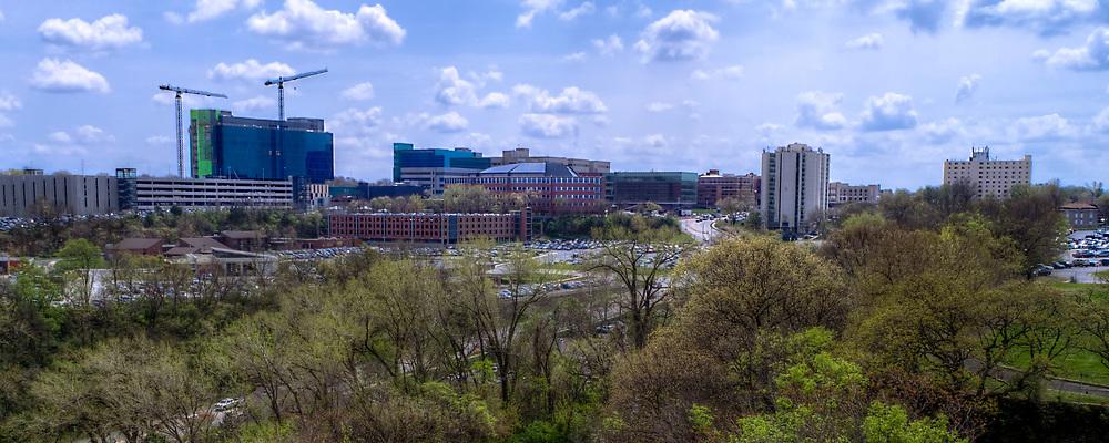 Panorama photo with view of University of Kansas Medical Center in Kansas City, Kansas.