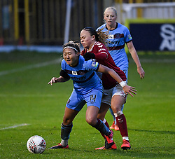 Cho So-hyun of West Ham United Women is challenged by Ebony Salmon of Bristol City Women - Mandatory by-line: Ryan Hiscott/JMP - 13/12/2020 - FOOTBALL - Twerton Park - Bath, England - Bristol City Women v West Ham United Women - Barclays FA Women's Super League