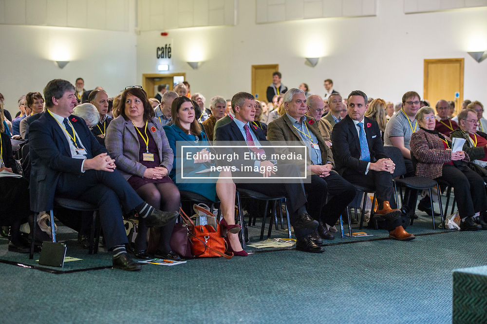Pictured: Alistair Carmichael, MSP, Christine Jardine, MOP, Jo Swinton, Willie Rennie; Mike Rumbles and Alex Cole Hamilton prepare to observe the two minutes silence in rememberenace of thiose who fought and died in conflicts around thr world.<br /> <br /> The Scottish Liberal Democrats stalwarts gathered today in Dunfermline for their Autumn Conference<br /> <br /> Ger Harley   EEm 11 November 2017