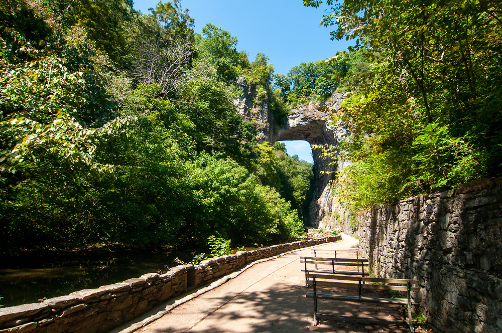 Benches along the Cedar Creek Trail offer a chance to enjoy the view at Natural Bridge State Park in Natural Bridge, Virginia on Sunday, September 19, 2021. Copyright 2021 Jason Barnette