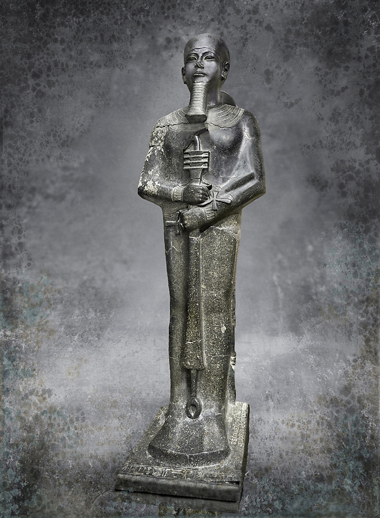 Ancient Egyptian statue of the god Ptah, granodiorite, New Kingdom, 18th Dynasty, (1390-1353 BC)Karnak. Egyptian Museum, Turin. <br /> <br /> The statue of the god Ptah is in the likeness of the reigning king Amenhotep III with a youthful almost feminine face, full cheeks, large smiling mouth and fleshy lips. The large almond shaped eyes are characteristic of the period as is the outline of the lips, Drovetti collection. Cat 86 .<br /> <br /> Visit our HISTORIC WALL ART PRINT COLLECTIONS for more photo prints https://funkystock.photoshelter.com/gallery-collection/Historic-Antiquities-Photo-Wall-Art-Prints-by-Photographer-Paul-E-Williams/C00002uapXzaCx7Y<br /> <br /> Visit our Museum ART & ANTIQUITIES COLLECTIONS to browse more photo at: https://funkystock.photoshelter.com/p/museum-antiquities