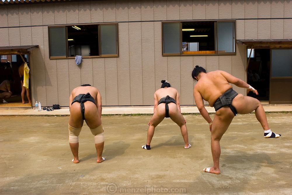 Professional Sumo Team (Musahigawa Beya) practicing in Nagoya, Japan before a tournament.