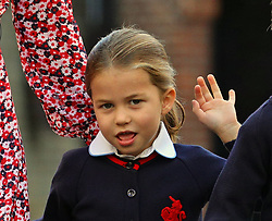 File photo dated 05/09/19 of Princess Charlotte waving as she arrives for her first day of school at Thomas's Battersea in London, accompanied by her brother Prince George and her parents the Duke and Duchess of Cambridge. Princess Charlotte celebrates her fifth birthday today.