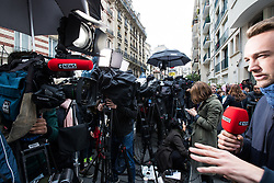 © Licensed to London News Pictures . 06/05/2017 . Paris , France . Media crammed together in the road opposite the office of Emmanuel Macron's En Marche . The electorate are voting in the final round of the French election today (7th May 2017) . Emmanuel Macron's En Marche and Marine Le Pen's Front National are competing for the Presidency . Photo credit: Joel Goodman/LNP