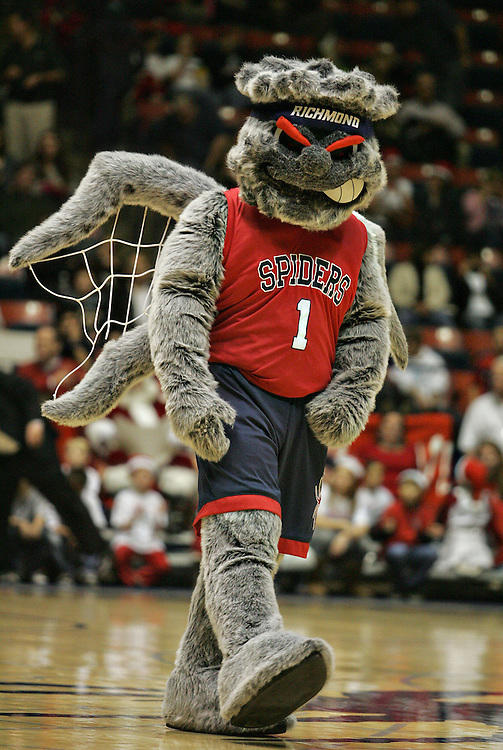 Dec 20, 2011; Richmond, VA, USA;  The Richmond Spiders mascot Webster on the court before the game against the Old Dominion Monarchs at the Robins Center. Mandatory Credit: Peter Casey-US PRESSWIRE