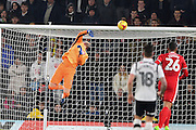 Derby County goalkeeper Scott Carson (1) watches the ball go in the net making the score 2-1 during the EFL Sky Bet Championship match between Derby County and Cardiff City at the Pride Park, Derby, England on 14 February 2017. Photo by Jon Hobley.