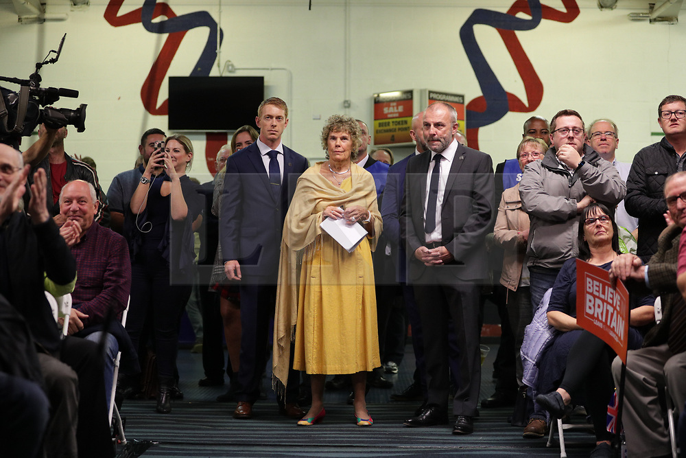 """© Licensed to London News Pictures . 22/09/2018. Bolton, UK. KATE HOEY. Pro Brexit campaign group Leave Means Leave host a """" Save Brexit """" and """" Chuck Chequers """" rally at the University of Bolton Stadium , attended by leave-supporting politicians from a cross section of parties , including Conservative David Davis , former UKIP leader Nigel Farage and Labour's Kate Hoey . Photo credit: Joel Goodman/LNP"""