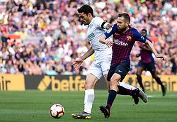 BARCELONA, May 13, 2019  Barcelona's Jordi Alba (R) vies with Getafe's Jorge Molina during a Spanish league match between FC Barcelona and Getafe in Barcelona, Spain, on May 12, 2019. FC Barcelona won 2-0. (Credit Image: © Joan Gosa/Xinhua via ZUMA Wire)