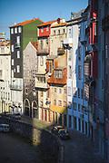 Various colors of residential buildings next to Sao Bento station, Porto, Portugal Ⓒ Davis Ulands   davisulands.com