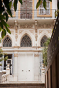 The facade of an old, French colonial building in Beirut, Lebanon