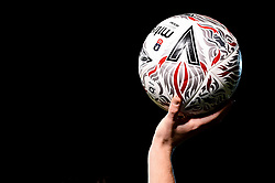 A FA Cup Match Ball is held prior to a throw in - Mandatory by-line: Ryan Hiscott/JMP - 17/12/2019 - FOOTBALL - Home Park - Plymouth, England - Plymouth Argyle v Bristol Rovers - Emirates FA Cup second round replay