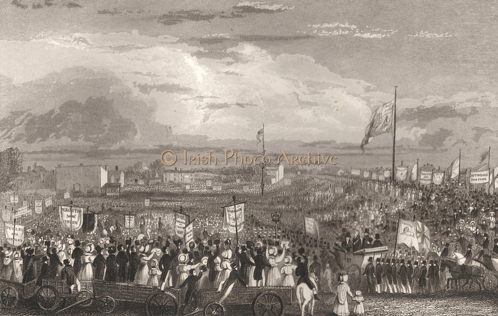 Great Meeting of the Political Unions, New Hall Hill, Birmingham, May 1832. Engraving.