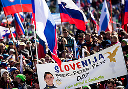 Supporters of Peter Prevc (SLO) from Cemsenik during Ski Flying Hill Team Competition at Day 3 of FIS Ski Jumping World Cup Final 2016, on March 19, 2016 in Planica, Slovenia. Photo by Vid Ponikvar / Sportida