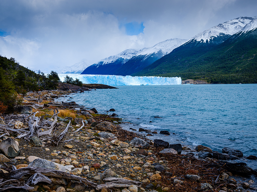 NATIONAL PARK LOS GLACIARES, ARGENTINA - CIRCA FEBRUARY 2019: View of the Glacier Perito Moreno and Argentino Lake, a famous landmark within the Los Glaciares National Park in Argentina