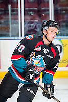 KELOWNA, CANADA - SEPTEMBER 24: Connor Bruggen-Cate #20 of the Kelowna Rockets warms up against the Kamloops Blazers on September 24, 2016 at Prospera Place in Kelowna, British Columbia, Canada.  (Photo by Marissa Baecker/Shoot the Breeze)  *** Local Caption *** Connor Bruggen-Cate;