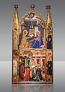 Gothic painted Panel Altarpiece of the Annunciation and Three Kings of the Epiphany by the Circle of Ferrer and Arnau Bassa. Tempera and gold leaf on wood. Circa 1347-1360. 282.9 x 151 x 11 cm. The origin of this panel has traditionally been associated with the collegiate church of Sant Vicenç de Cardona (Bages). National Museum of Catalan Art, Barcelona, Spain, inv no: 015855-000 .<br /> <br /> If you prefer you can also buy from our ALAMY PHOTO LIBRARY  Collection visit : https://www.alamy.com/portfolio/paul-williams-funkystock/romanesque-art-antiquities.html<br /> Type -     MNAC     - into the LOWER SEARCH WITHIN GALLERY box. Refine search by adding background colour, place, subject etc<br /> <br /> Visit our ROMANESQUE ART PHOTO COLLECTION for more   photos  to download or buy as prints https://funkystock.photoshelter.com/gallery-collection/Medieval-Romanesque-Art-Antiquities-Historic-Sites-Pictures-Images-of/C0000uYGQT94tY_Y