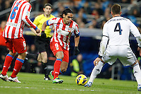 01.12.2012 SPAIN -  La Liga 12/13 Matchday 14th  match played between Real Madrid CF vs  Atletico de Madrid (2-0) at Santiago Bernabeu stadium. The picture show Radamel Falcao Garcia (Colombian striker of At. Madrid) and Sergio Ramos (Spanish defender of Real Madrid)