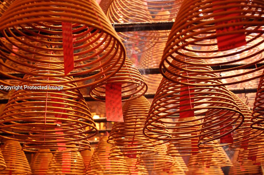 Burning incense coils in Man Mo Temple in Hong Kong