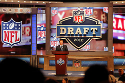 NFL Commissioner Roger Goodell speaks during the first round of the NFL Draft on April 26th 2012 at Radio City Music Hall in New York, New York. (AP Photo/Brian Garfinkel)
