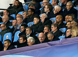 Manchester City manager Pep Guardiola (centre third right), chairman Khaldoon Al Mubarak (bottom left) and CEO Ferran Soriano (second bottom left) in the stands during the UEFA Champions League, Quarter Final at the Etihad Stadium, Manchester.