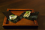 Cream cheese anchovy (Portuguese whie anchovy, miso-infused cream cheese, and Miyabi nori) at SakaMai.