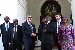 August 10, 2017 - Dar es Salaam, Tanzania – Philanthropist BILL GATES shares a moment with Tanzania President JOHN MAGUFULI AT the Presidential State House. Gates acknowledged Magufuli's commitment to poverty reduction in his country and said his foundation will continue to support development efforts there. Gates was in Tanzania to learn more about the country's development agenda. Melinda Gates, co-chair of the Bill & Melinda Gates Foundation, also met with Magafuli during a visit to Tanzania last year. The foundation plans to invest  billion across the continent of Africa by 2021. (Credit Image: © Ric Francis via ZUMA Wire)..