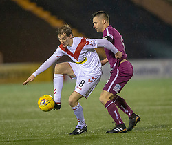 Airdrie's Kieran Millar and Arbroath's Mark Whatley. Airdrie 0 v 1 Arbroath, Scottish Football League Division One played 15/12/2018 at Airdrie's Excelsior stadium.