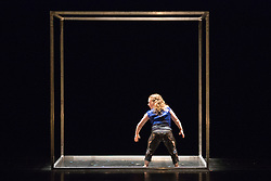 © Licensed to London News Pictures. 10/04/2015. London, England. Pictured: Annie Edwards performing. Dress rehearsal of Frame[d]. The National Youth Dance Company returns to Sadler's Wells to premiere Frame[d], a new work created by the 2014-15 Guest Artistic Director Sidi Larbi Cherkaoui. The performance takes place on 10 April 2015 with dancers of the ages from 15 to 20. Photo credit: Bettina Strenske/LNP