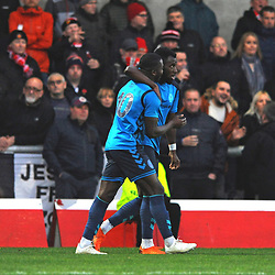 TELFORD COPYRIGHT MIKE SHERIDAN 17/11/2018 - GOAL. Amari Morgan-Smith of AFC Telford celebrates with Dan Udoh after scoring to make it 2-1 during the Vanarama Conference North fixture between FC United of Manchester and AFC Telford United.