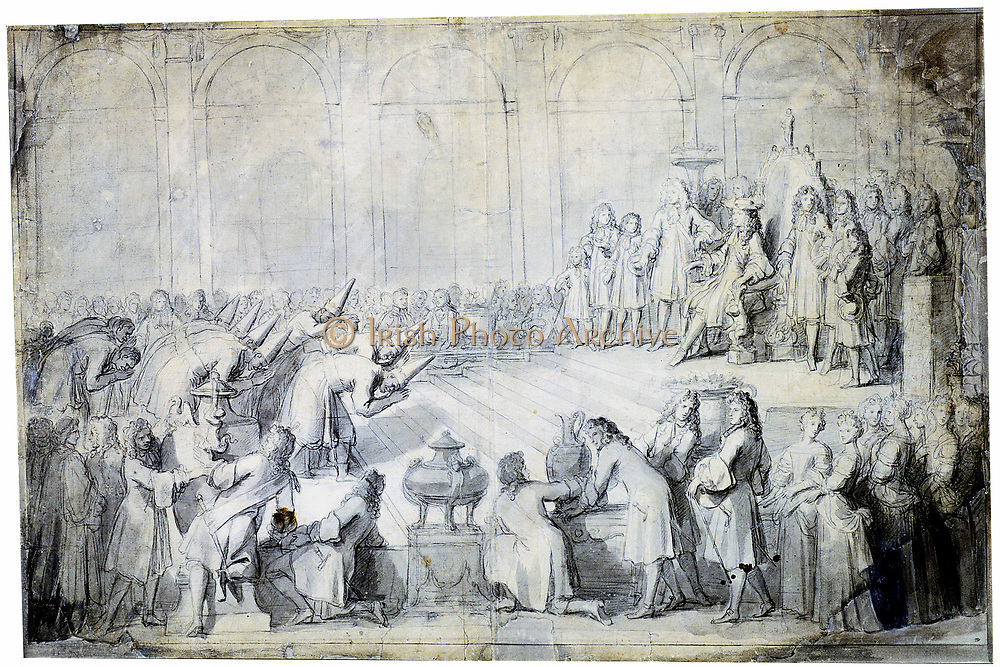 The Siamese Ambassadors before the King, Louis XIV '.  Charles Le Brun  (1619-90) French artist.