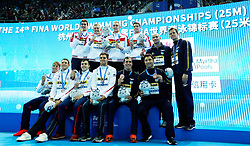HANGZHOU, Dec. 15, 2018  Medalist pose for photo during the awarding ceremony of Men's 4X50m Medley Relay Final at 14th FINA World Swimming Championships (25m) in Hangzhou, east China's Zhejiang Province, on Dec. 15, 2018. Team Russia claimed the title with 1:30.54. (Credit Image: © Xinhua via ZUMA Wire)