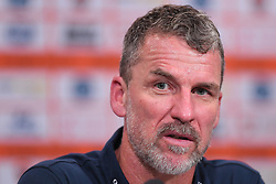 October 13, 2017 - Brisbane, QUEENSLAND, AUSTRALIA - Adelaide head coach Marco Kurz speaks to the media after their victory in the round two A-League match between the Brisbane Roar and Adelaide United at Suncorp Stadium on October 13, 2017 in Brisbane, Australia. (Credit Image: © Albert Perez via ZUMA Wire)