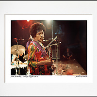 """Jimi Hendrix - An affordable archival quality matted print ready for framing at home.<br /> Ideal as a gift or for collectors to cherish, printed on Fuji Crystal Archive photographic paper set in a neutral mat (all mounting materials are acid free conservation grade). <br /> The image (approx 6""""x8"""") sits within a titled border. The outer dimensions of the mat are approx 10""""x12"""""""