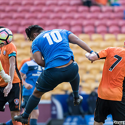 BRISBANE, AUSTRALIA - MARCH 25: Mustafa Jafari of SWQ Thunder scores a goal during the round 5 NPL Queensland match between the Brisbane Roar and SWQ Thunder at Suncorp Stadium on March 25, 2017 in Brisbane, Australia. (Photo by Patrick Kearney/Brisbane Roar)