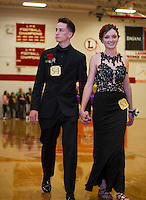 Nicolas Murray and Teegan Stevens during Laconia High School's prom march prior to their cruise on the Mount Washington Friday evening.  (Karen Bobotas/for the Laconia Daily Sun)