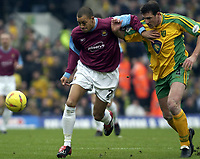 Picture: Henry Browne.<br /> Date: 21/02/2004.<br /> Norwich City v West Ham United Nationwide First Division.<br /> <br /> West Ham's Bobby Zamora holds off Norwich's Malky Mackay
