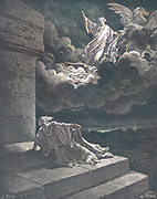 Machine Colourized (AI) Elijah Taken Up To Heaven in a Chariot of Fire 2 Kings 2:11 From the book 'Bible Gallery' Illustrated by Gustave Dore with Memoir of Dore and Descriptive Letter-press by Talbot W. Chambers D.D. Published by Cassell & Company Limited in London and simultaneously by Mame in Tours, France in 1866