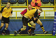 Wycombe, Bucks Causeway Stadium. <br /> Zurich Premiership 11-11-2001<br /> London Wasps V Newcastle Falcons<br /> Wasps stand off Alex King attemps to hold up Doddie Weir on his way to a try.  [Mandatory Credit;Peter SPURRIER/Intersport Image]