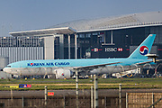 Korean Air Cargo Plane is seen parked at Heathrow Airport Cargo station on Wednesday, April 8, 2020 - as it called on more airlines and freight companies to maximise the use of the hub's quieter flight schedule in the fight against COVID-19. Logistics companies have already begun importing key equipment such as COVID-19 testing kits via Heathrow in preparation for increased demand. Heathrow's cargo movements are forecast to increase by 53%, as more airlines and freighter operators use the available capacity to transport goods which will assist in the fight against coronavirus. (Photo/Vudi Xhymshiti)