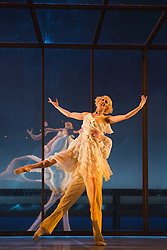 © Licensed to London News Pictures. 14 May 2013. London, England. Picture: Tobias Batley as Jay Gatsby and Martha Leebolt as Daisy Buchanan. Northern Ballet returns to Sadler's Wells this spring with The Great Gatsby, a brand new full-length ballet for 2013. Adapted from the classic novel by F. Scott Fitzgerald, The Great Gatsby is directed and choreographed by Artistic Director David Nixon OBE, with co-direction from Patricia Doyle. From 14 to 18 May 2013. Photo credit: Bettina Strenske/LNP