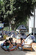 Tel Aviv, Israel, Israelis from all walks of life are living in tents in the city centres demanding from the government solutions for the middle class, housing shortage and the high cost of living.