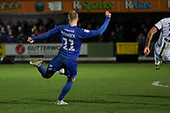 AFC Wimbledon midfielder Mitchell (Mitch) Pinnock (11) about to shoot at goial during the EFL Sky Bet League 1 match between AFC Wimbledon and Burton Albion at the Cherry Red Records Stadium, Kingston, England on 28 January 2020.