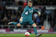 Goalkeeper Simon Mignolet of Liverpool takes a goal kick. The Emirates FA cup, 4th round replay match, West Ham Utd v Liverpool at the Boleyn Ground, Upton Park  in London on Tuesday 9th February 2016.<br /> pic by John Patrick Fletcher, Andrew Orchard sports photography.