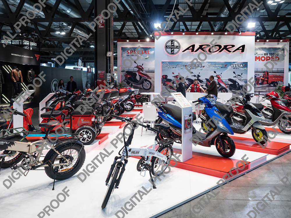 RHO Fieramilano, Milan Italy - November 07, 2019 EICMA Expo. Motorcycles and scooters in exhibition at Arora stand
