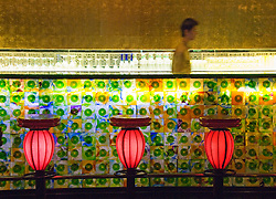 Trendy modern bar interior in Xin Tian Di new nightlife district of Shanghai China