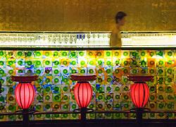 Trendy modern bar interior in Xin Tian Di new nightlife district of Shanghai China