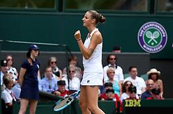 Karolina Pliskova celebrates winning against Victoria Azarenka on day three of the Wimbledon Championships at the All England Lawn Tennis and Croquet Club, Wimbledon.